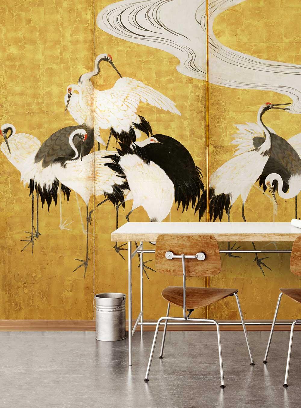 chinoiserie-wallpepper-gold-crane_decohome.de_